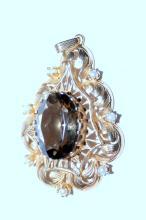 Lot 310: 14K Smoky quartz pendant vintage