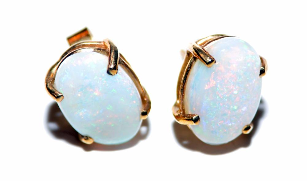 Opal earrings 14k vintage