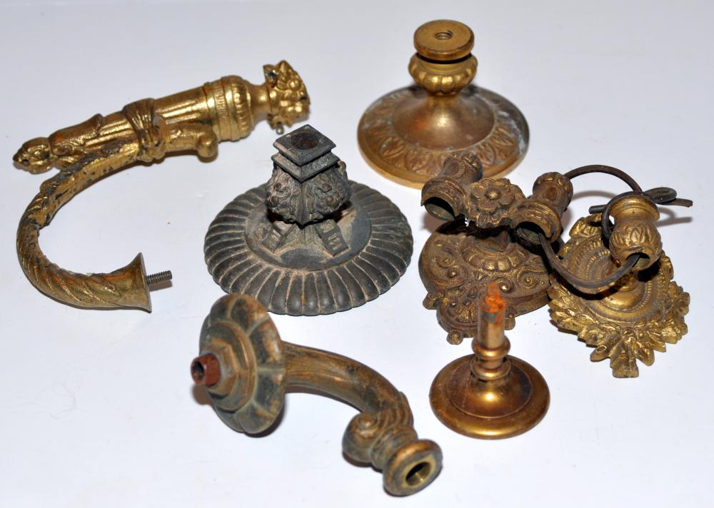 Brass lamp parts/structural  vintage pieces