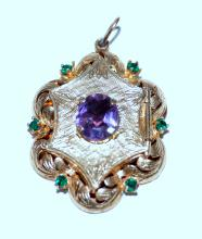 Lot 324: 14k locket emeralds, amethyst vintage