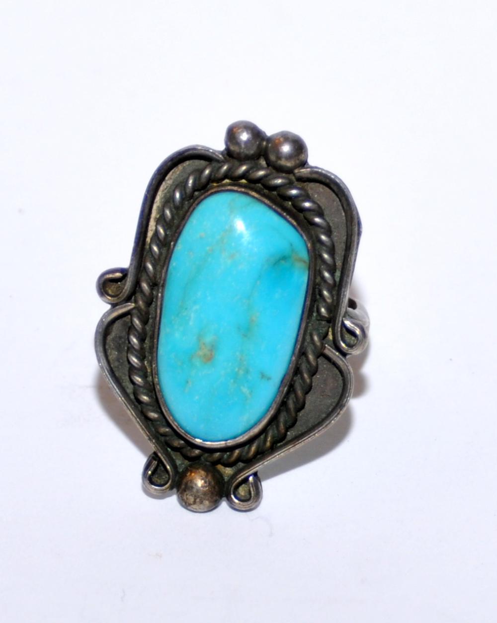 Vintage turquoise ring Southwestern sterling