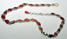 Lot 347: Sterling ruby belt native rubies
