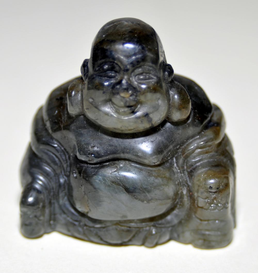 Lot 354: Labradorite carved Buddha detailed