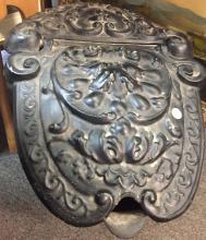 Lot 357: 19th c coal scuttle metal ornate