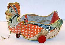 Vintage pull toy Duck Gongbell