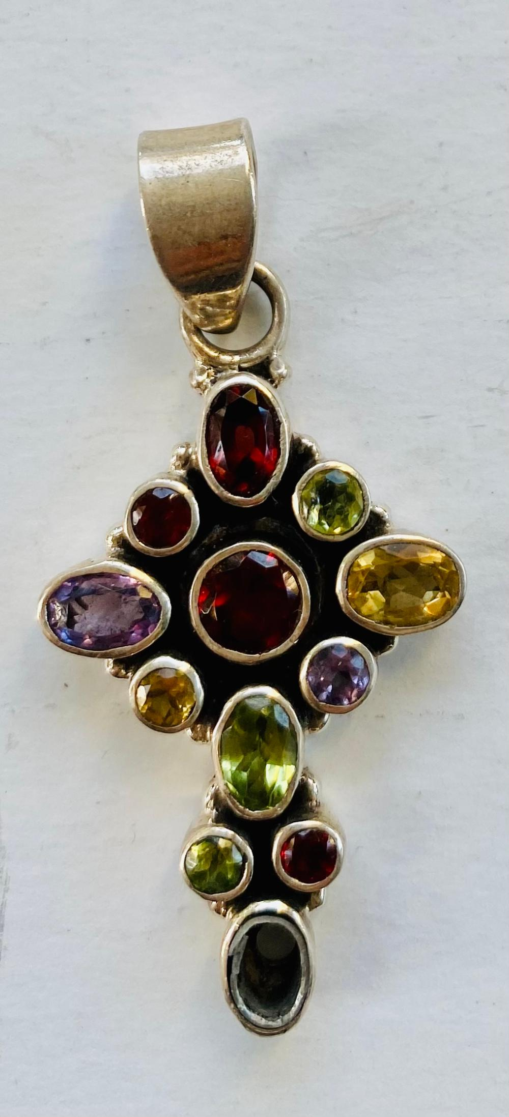 Gemstone sterling cross - 2 3/4 inches