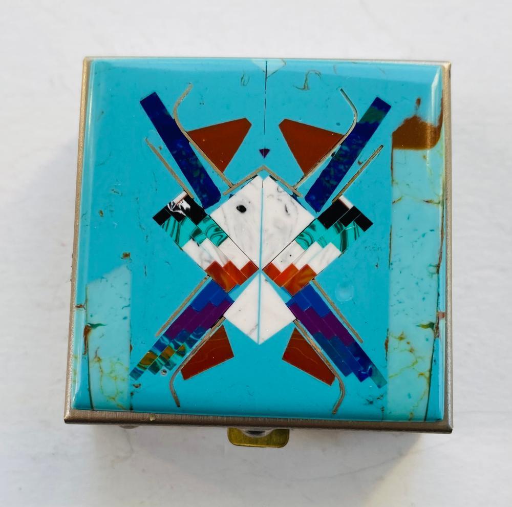 Turquoise inlaid Southwestern pill box