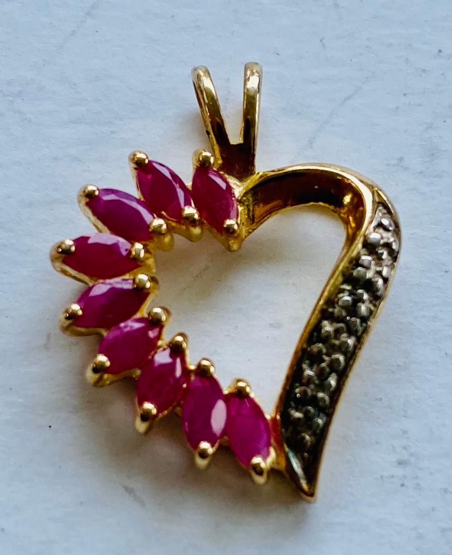 Ruby vermeil heart pendant