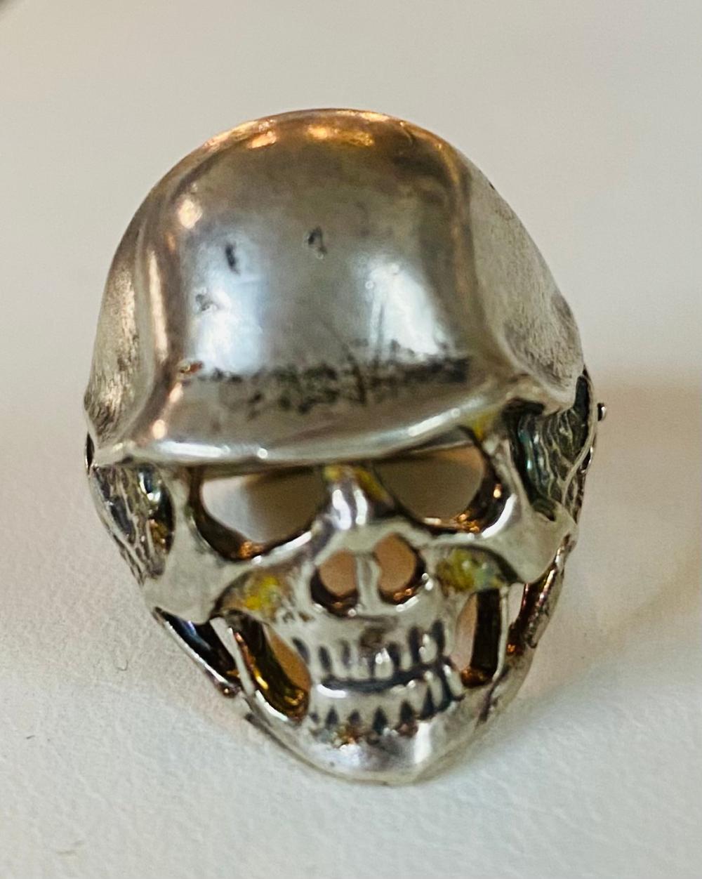 Skull sterling ring with helmet