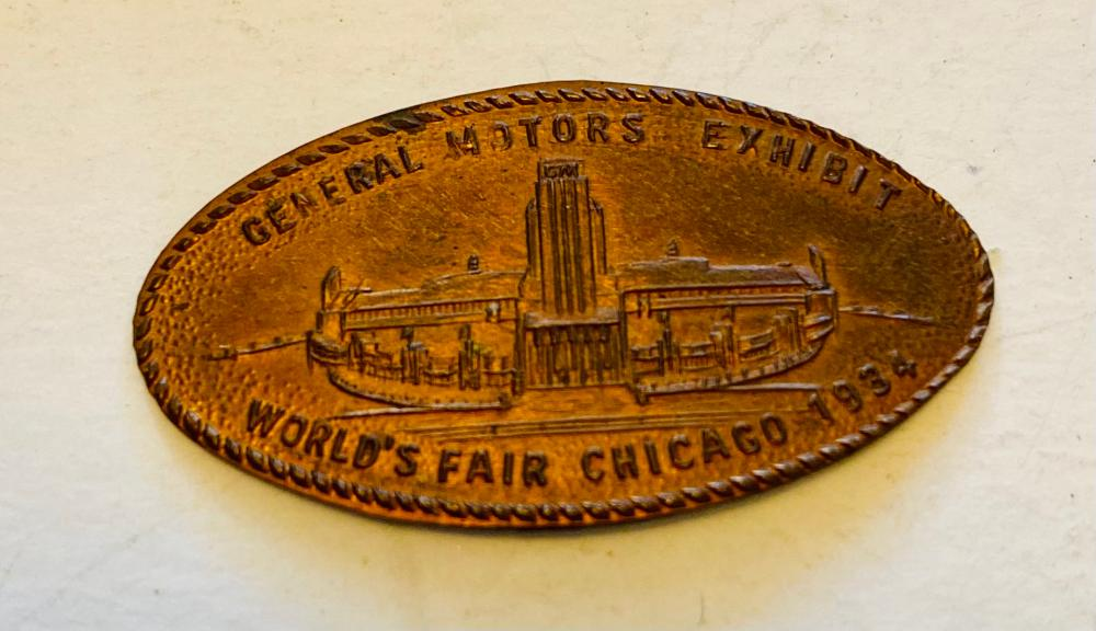 Chicago WF 1934 rolled penny /GM