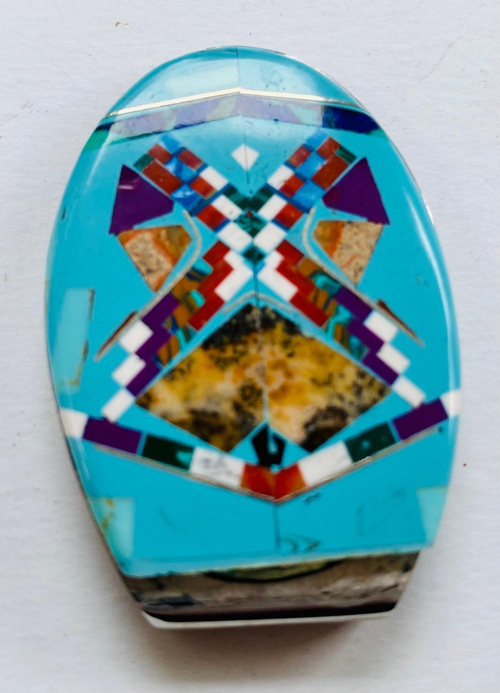 Turquoise gemstone inlaid money clip