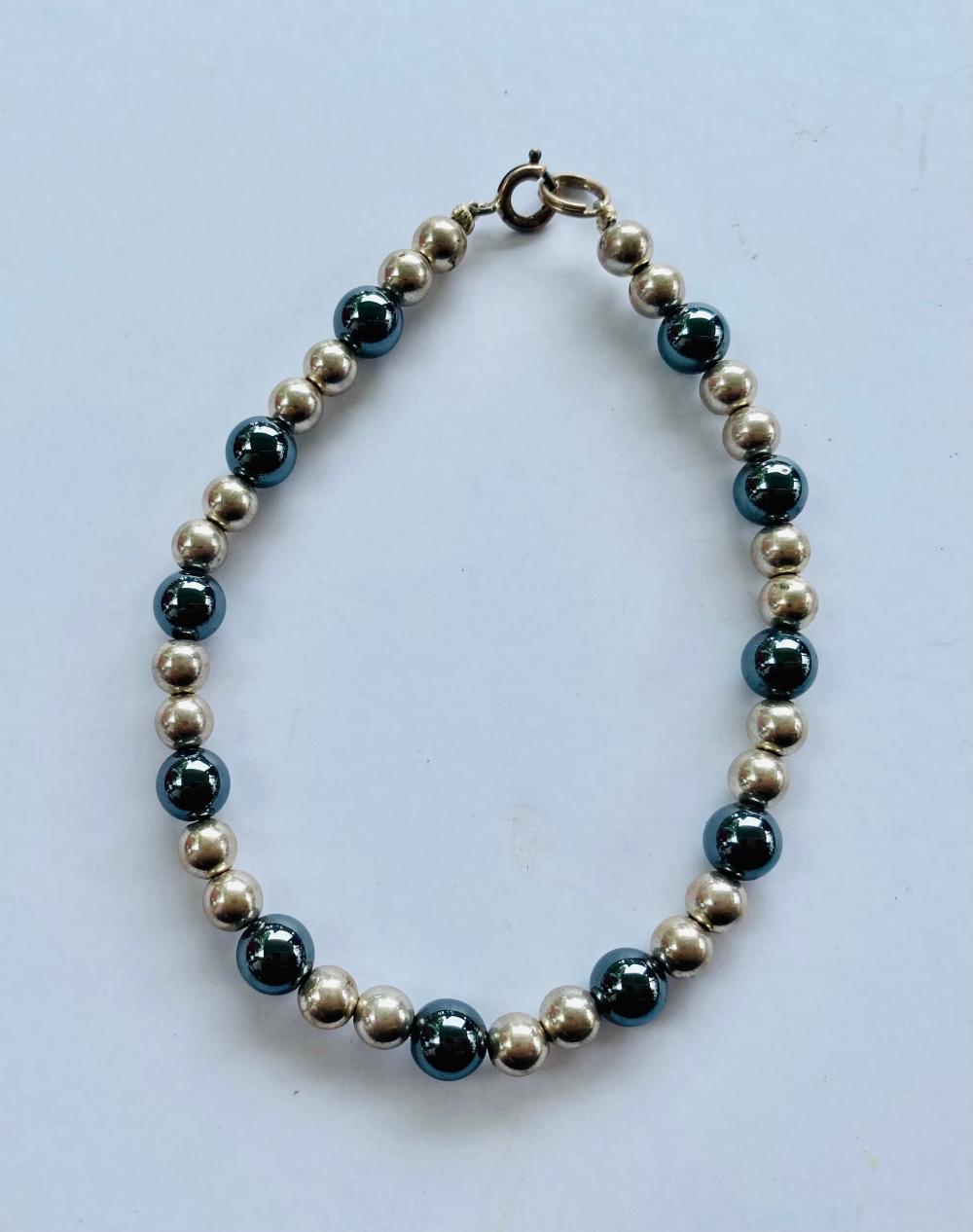 Sterling bead hematite bracelet