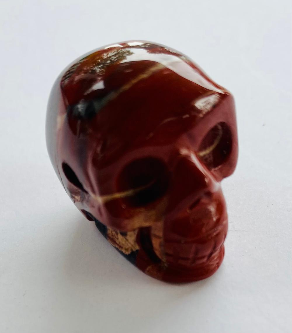 Jasper carved skull bead