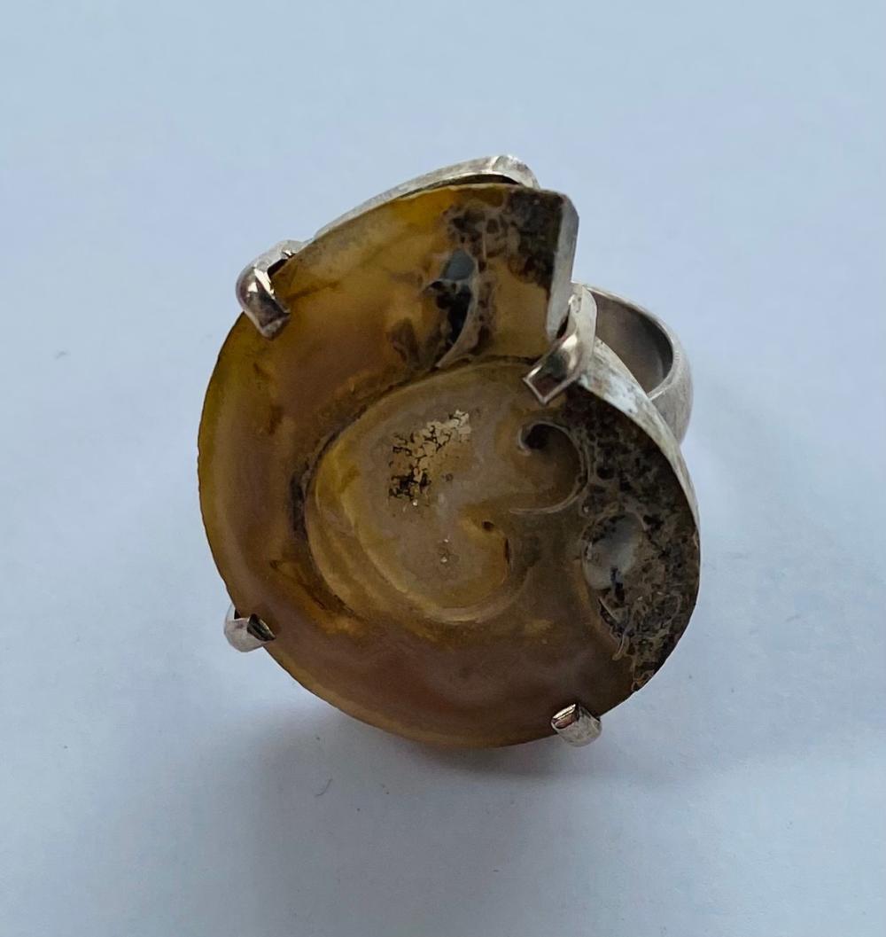 Ammonite sterling custom ring