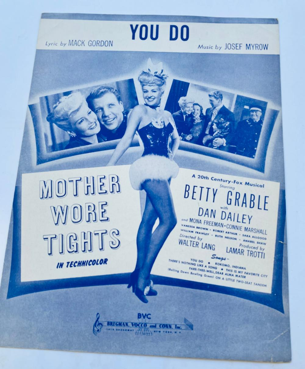 Sheet music vintage Betty Grable