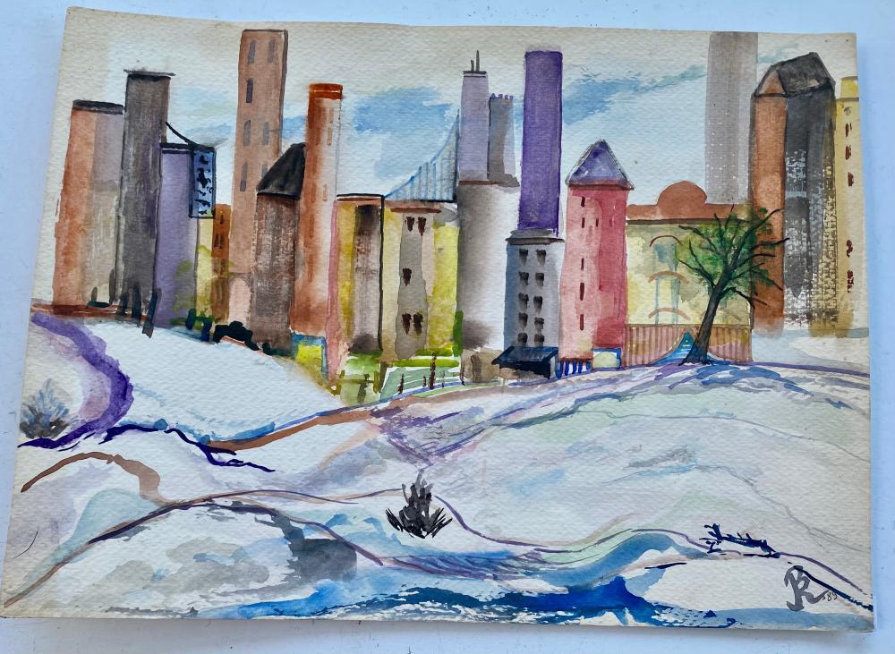 Bernard Rokus watercolor signed city