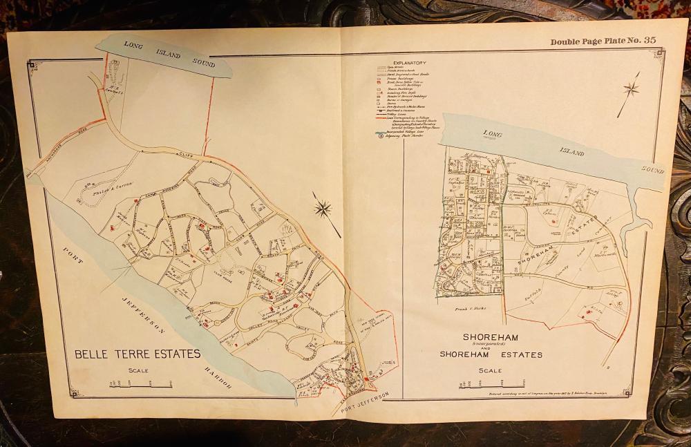 Map Long Island Belle Terre /Shoreham 1917