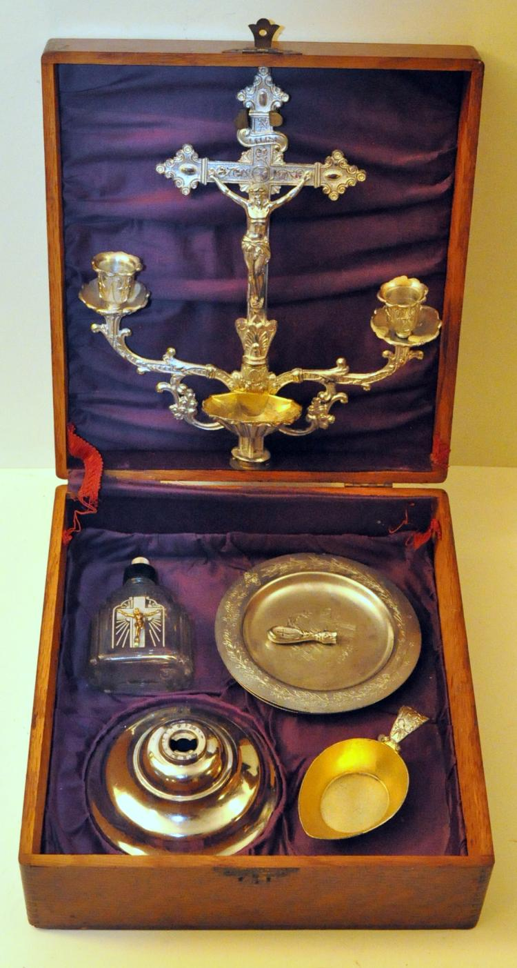Homans Sick Call Vintage Box With Chalice Candles Plus