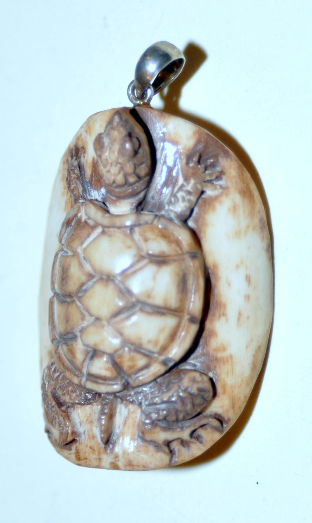 Turtle Bone Carved Pendant