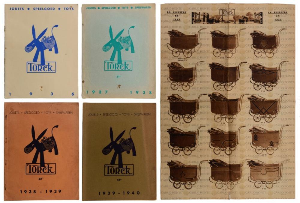 A Torck folded advertising brochure 1930, Torck catalogues 1936, 1937-38, 1938-39, 1939-40