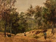 César De Cock (1823-1904), view on a wooded and rolling landscape, oil sketch, 45 x 60 cm