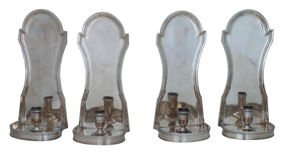 Four English silver wall appliques, H 29 cm