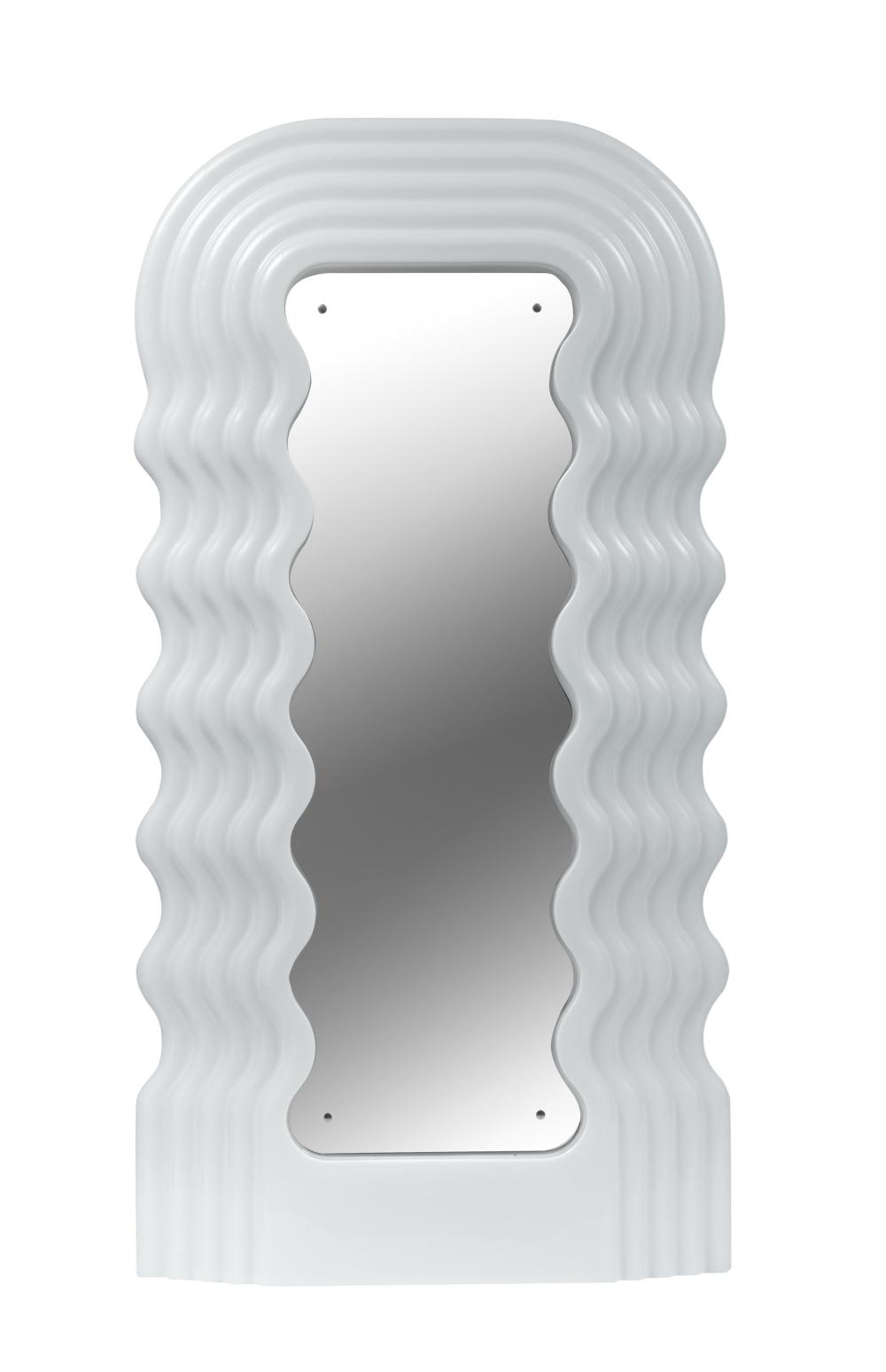 A white '70 design 'Ultrafragola' mirror, attributed to Ettore Sottsass, 102 x 196 cm
