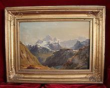 Edmund Worndle (Vienna 1827-1906) Alpine Landscape oil