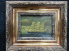British Ship Painting on copper or tin