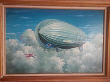Blimp Zeppelin Aviation painting British