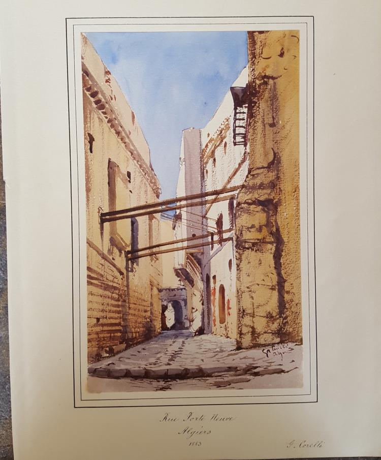 Gabriel Carelli British Italian Orientalist Algiers watercolor