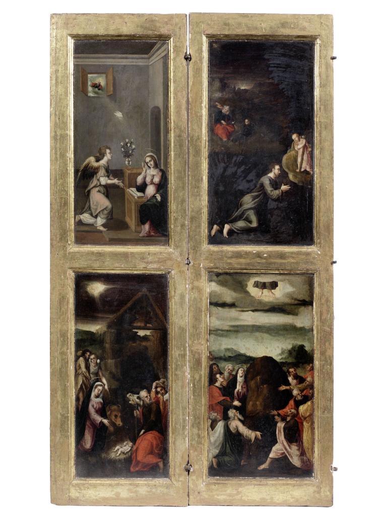 Old master flemish renaissance 6 panel paintings for Classic house genre