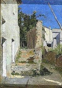 Marco Calderini Torino 1850-1941 Vado ligure Olio su tela siglato in basso a destra Cm. 26,5x19
