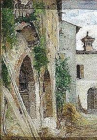 Marco Calderini Torino 1850-1941 Scorcio di Albogasio Olio su tela firmato e datato 1867 in basso a sinistra Cm. 26,5x19