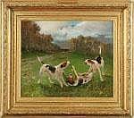 Pierre Auguste Brunet-Houard Cani che giocano Olio