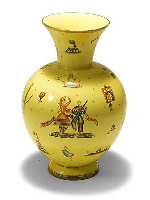 Guido Andlovitz Vaso in ceramica policroma. Prod.