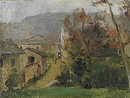Marco Calderini Torino 1850-1941 Via di Coazze Olio su compensato firmato in basso a destra Cm. 28,5x37,5 Gia Galleria Fogliato