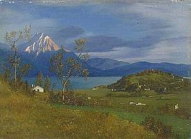 Marco Calderini Torino 1850-1941 I monti di Laveno, Lago maggiore Olio su cartone firmato in basso a sinistra e datato febbraio 1917 Cm 73x101 A