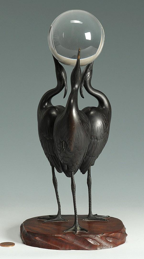 Signed Japanese Art Deco Bronze Okimono of 3 Cranes