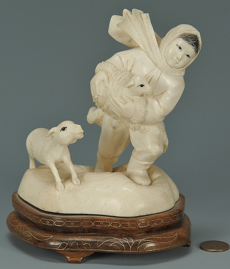 Chinese Cultural Revolution Ivory Figure of Child and Sheep
