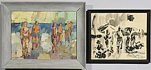 Two George Cress beach scenes art works