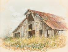 Marion Cook Barn, Oil on Paper Landscape