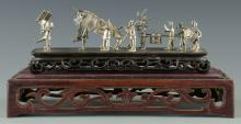 Miniature Chinese Export Silver Procession Scene