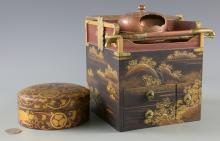 Japanese Gold Lacquer Tobacco Box & Bronze Hand Mirror