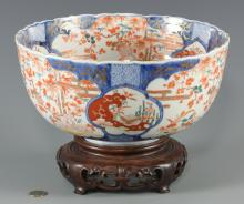 Imari Porcelain Punch Bowl, 19th C.