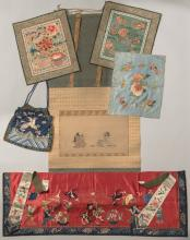 Japanese Scroll & 5 Chinese Silk Embroidered Textiles