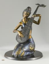 Bronze Pipa Melody Sculpture, Jiang Tie-feng