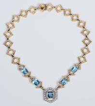 14K Blue Topaz Diamond Necklace