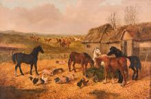 J.F. Herring Jr. o/c, Hunt and Barn Scene