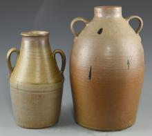 2 Middle TN 2-Handled Pottery Jars